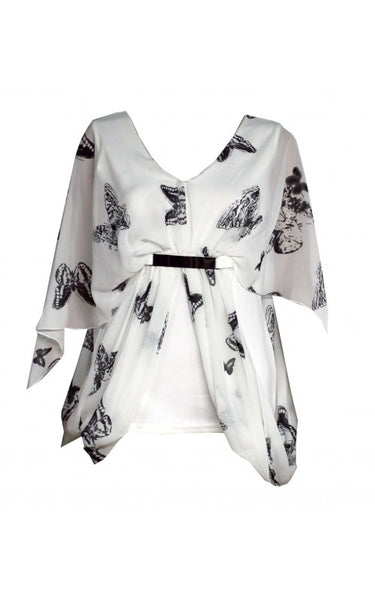 Women Black And White Butterfly Print Chiffon Overlay Metal Mock Belt Top