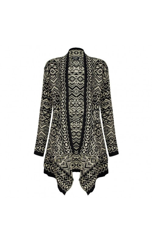 Women Ladies frill Aztec waterfall cardigan