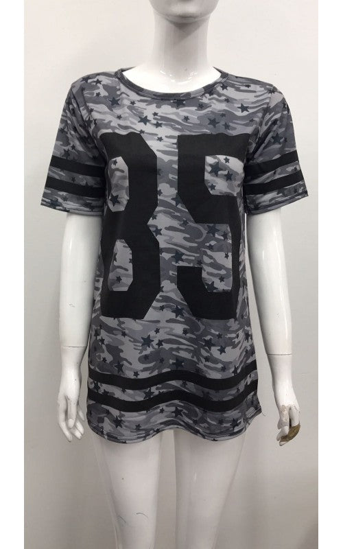 Women 85 Print Camouflage t shirt Top