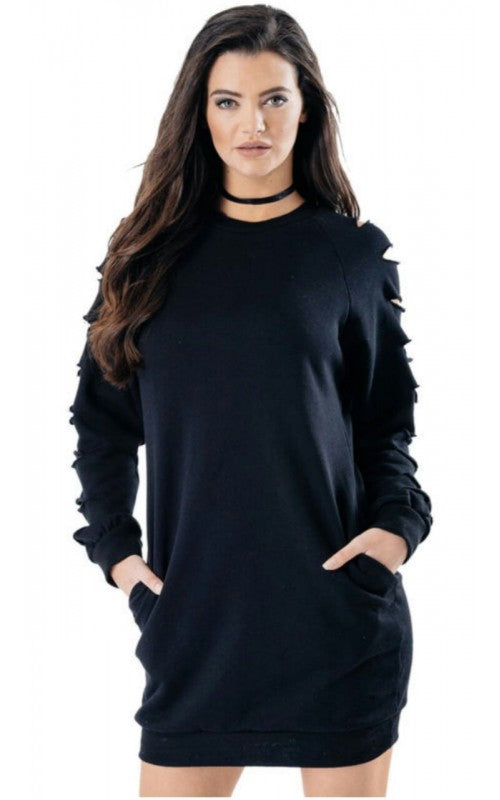 DISTRESSED LASER CUT SLEEVE LONGLINE BAGGY OVERSIZE POCKET TUNIC