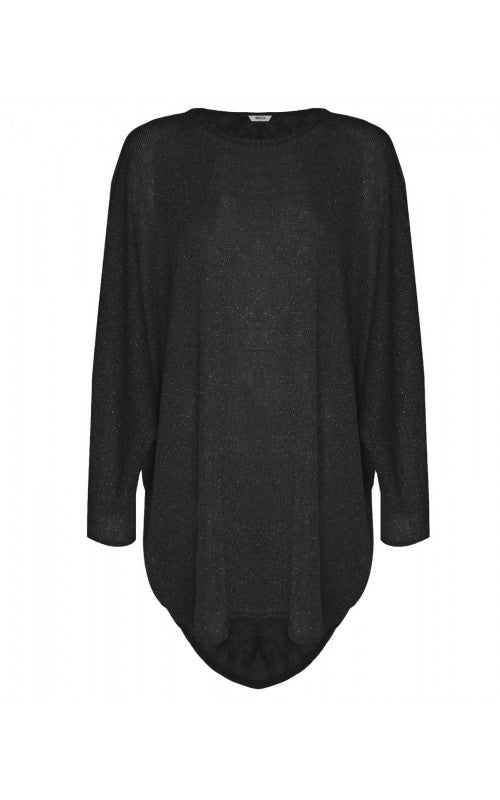 Womens Lurex Oversized Batwing Baggy Top