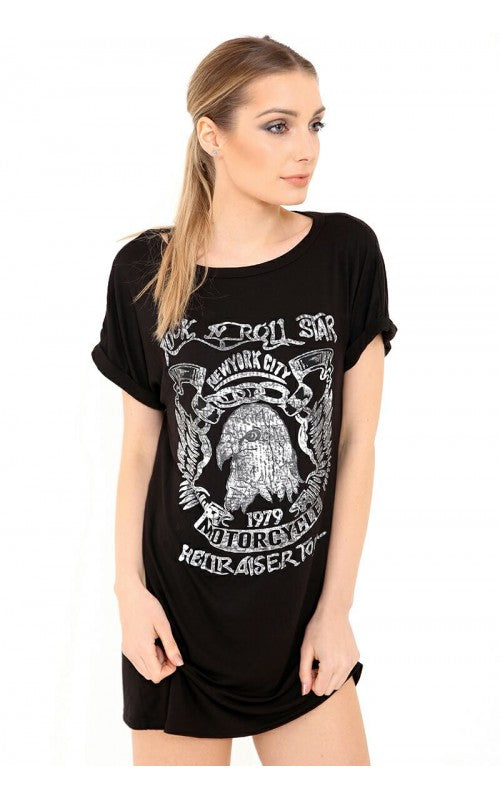 Distressed Eagle Hellraiser Print Round Neck Turnup Sleeve Baggy Tshirt Dress