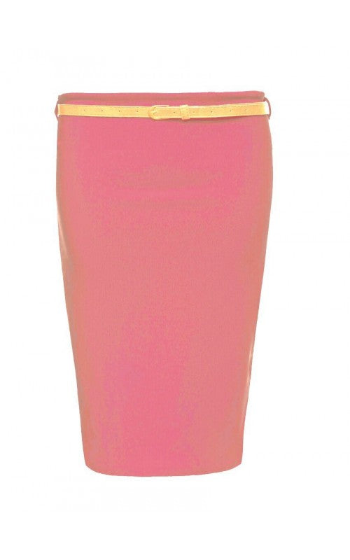 Womens Ladies Belted Ribbed Stretch Bodycon Midi Pencil Skirt