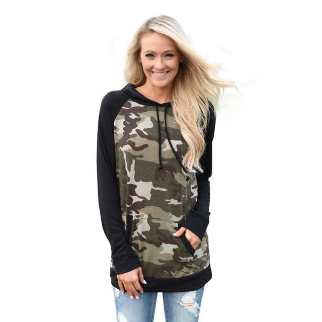 High Quality Womens Blouse Long Sleeve Splice Camouflage Hoodie Sweatshirt Jumper Hooded Women Clothing Blusas