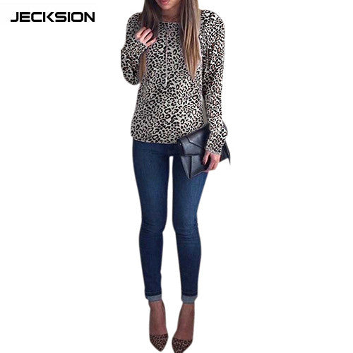 JECKSION Blusa Feminina Fashion Leopard Backless Long Sleeve Womens Blouse Tops Clothing Cheap Clothes China  Shipping #LYW