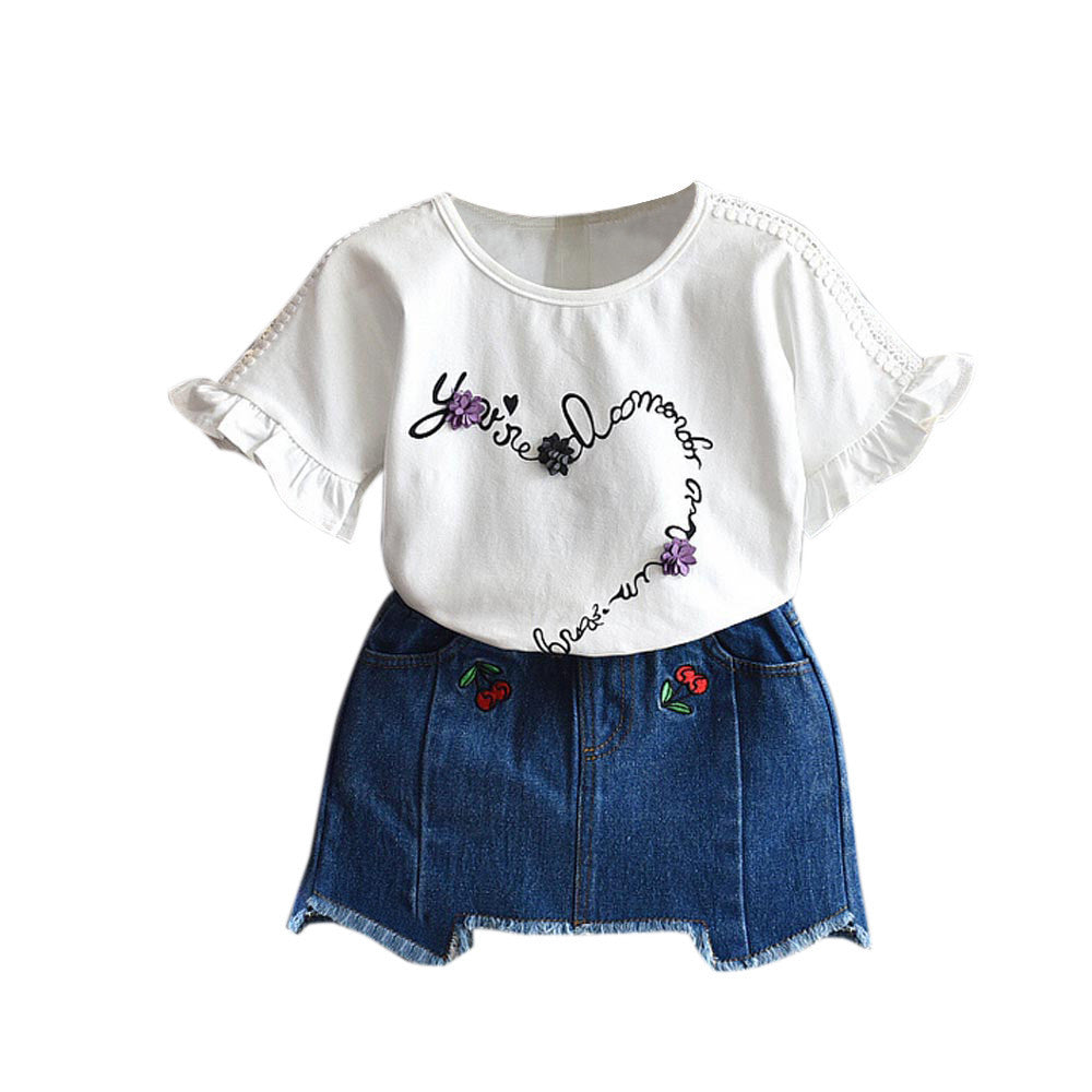 Kids baby girls clothes set Toddler Kids Baby Girls Summer Clothes T-Shirt+ Embroidery Denim Skirt Set 2 pieces set