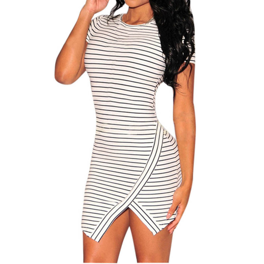 Women Casual Summer Dress Sexy Irregular Striped Dress Women O Neck Short Sleeve Party Slim Fit Dresses