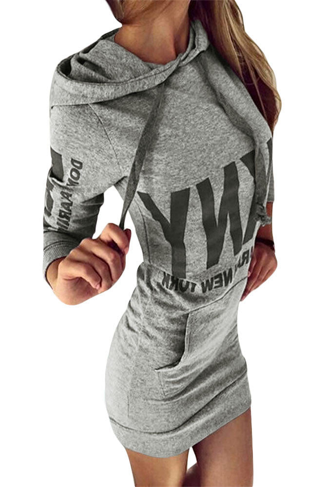 Women Letter Print Grey Drawstring Hoodie Dress