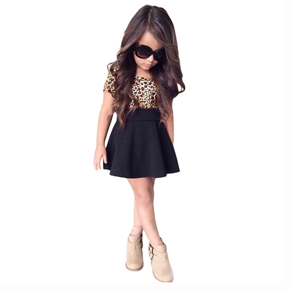 US ship Kids Baby Girls Dress Leopard Printing Short Sleeveless Dress Clothes children clothes drop ship