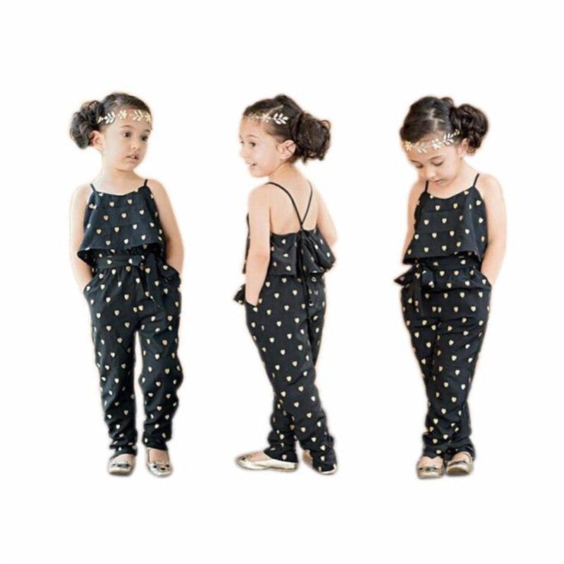 Kids Girls Straps Overalls Clothes 2016 Love Heart Jumpsuits Rompers Clothing Loose Overalls Kids Gifts