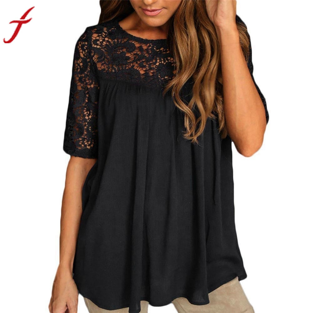 Sexy Hollow Out Blouse Women Summer Tops Solid Lace Short Sleeve Backless Women Shirt Loose Casual Top Blusas Women Clothes