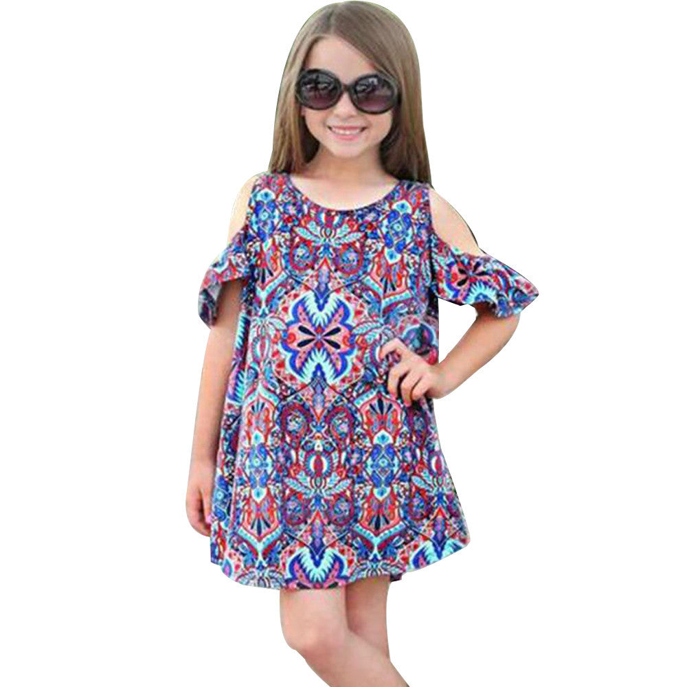 Summer Baby Kids Girls Dress Shoulder Print Bohemian Dress Clothes Outfits children clothes Drop ship