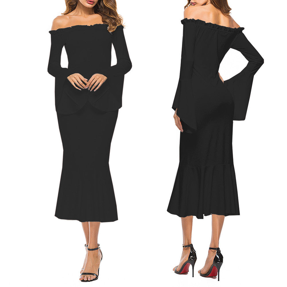Sexy Women Dress Long Sleeve Off The Shoulder Dress Party Evening Dress