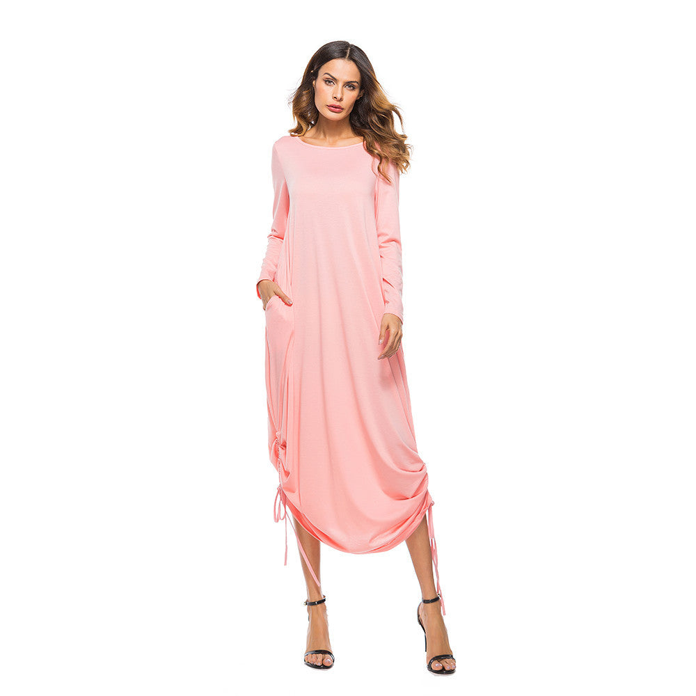 Sexy Women Dress Pocket O Neck Long Sleeve Dress Evening Party Long Dress