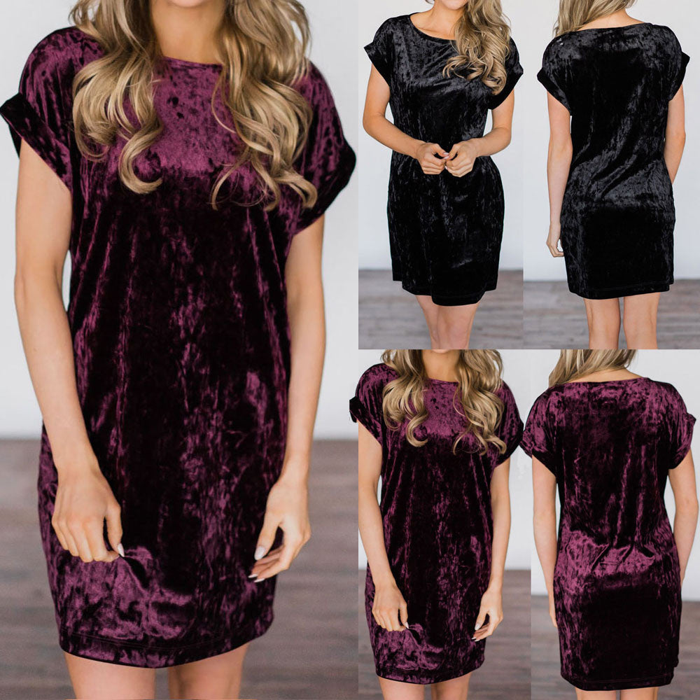Womens Short Sleeve Party Dress Ladies Velvet Mini Dress