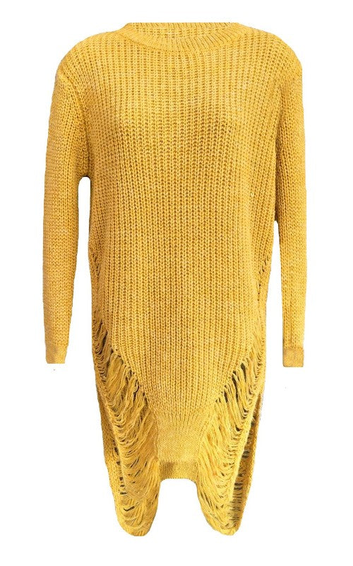 Womens knitted Ripped Torn Jumper dress