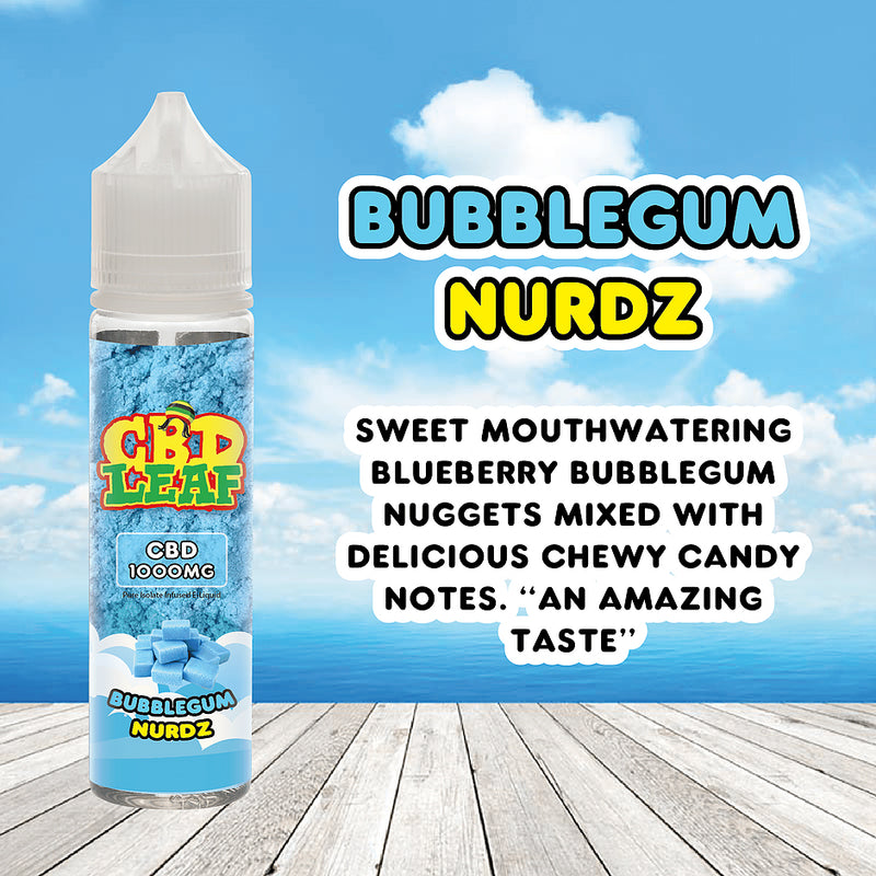 60ml Bubblegum Nurdz 1000mg CBD Vape Juice by CBD Leaf