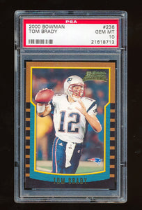 PSA 10 Tom Brady 2000 Bowman Rookie Card