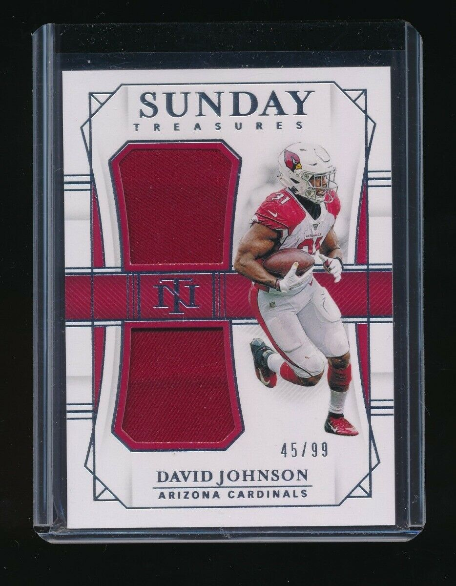 DAVID JOHNSON 2019 NATIONAL TREASURES SUNDAY TREASURES JERSEY #/99 *CARDINALS*