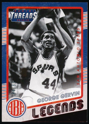 GEORGE GERVIN 2014-15 PANINI THREADS ABA LEGENDS RED 84/99 *SAN ANTONIO SPURS*