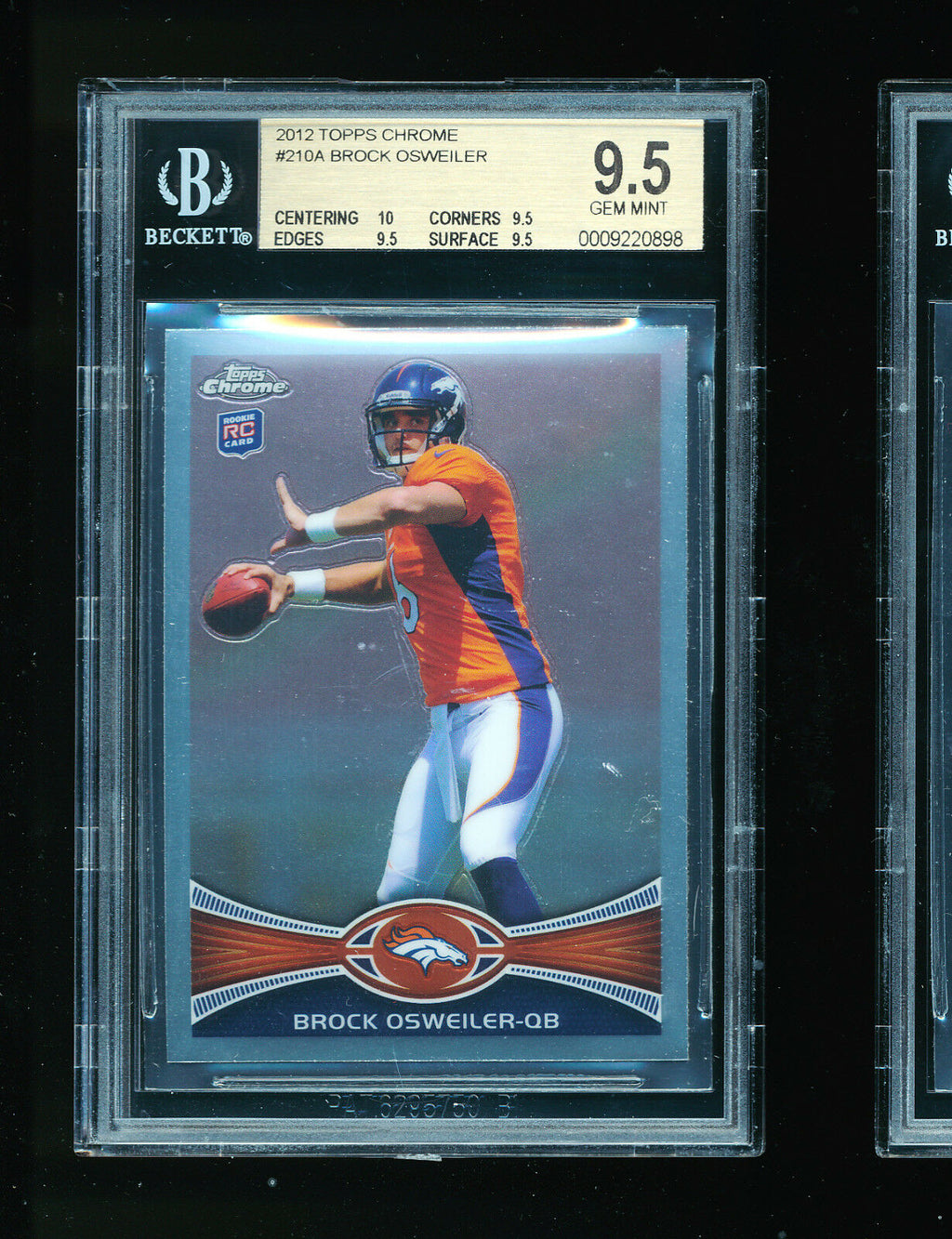 BGS 9.5 BROCK OSWEILER 2012 TOPPS CHROME RC ROOKIE CARD *HOUSTON TEXANS* GEM MT