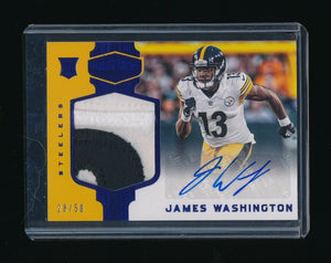 JAMES WASHINGTON 2018 PANINI PLATES AND PATCHES BLUE PATCH RC AUTO 28/50 STEELER