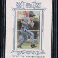 JUSTIN MORNEAU 2007 TOPPS STERLING FRAMED WHITE SUEDE 06/50 MINNESOTA TWINS