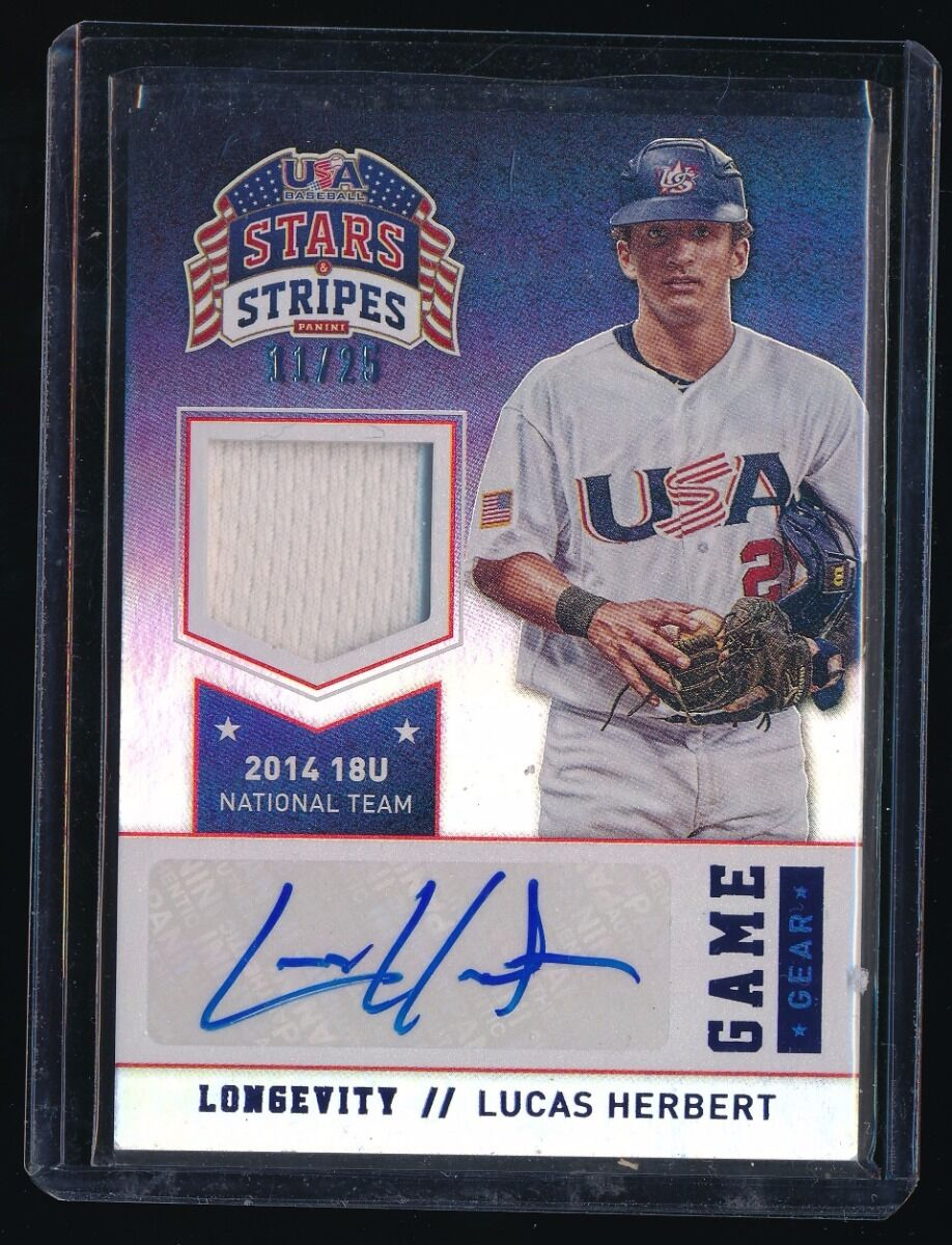 LUCAS HERBERT 2015 USA BASEBALL STARS AND STRIPES GAME GEAR JERSEY AUTO 11/25