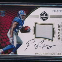 PAUL PERKINS 2016 LIMITED JERSEY PATCH RC AUTO 286/299 *NEW YORK GIANTS*