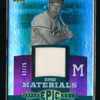EDDIE MATHEWS 2006 UPPER DECK EPIC MATERIALS PURPLE JERSEY 62/75 ATLANTA BRAVES
