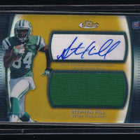 STEPHEN HILL 2012 FINEST JUMBO JERSEY GOLD REFRACTOR RC AUTO 27/75 NEW YORK JETS