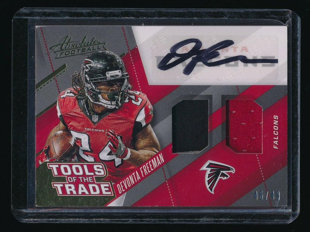 DEVONTA FREEMAN 2017 ABSOLUTE TOOLS OF THE TRADE DUAL JERSEY AUTO 45/49 *FALCONS