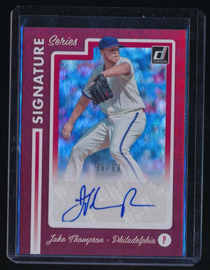 JAKE THOMPSON 2017 DONRUSS SIGNATURE SERIES RED AUTO 36/99 PHILADELPHIA PHILLIES