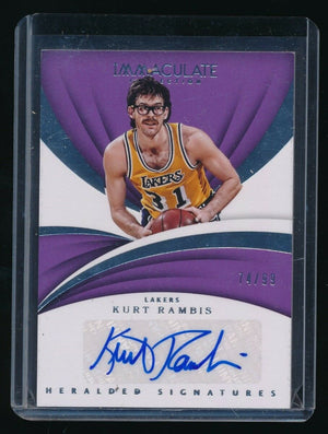 KURT RAMBIS 2017-18 IMMACULATE COLLECTION HERALDED SIGNATURE AUTO 74/99 *LAKERS*