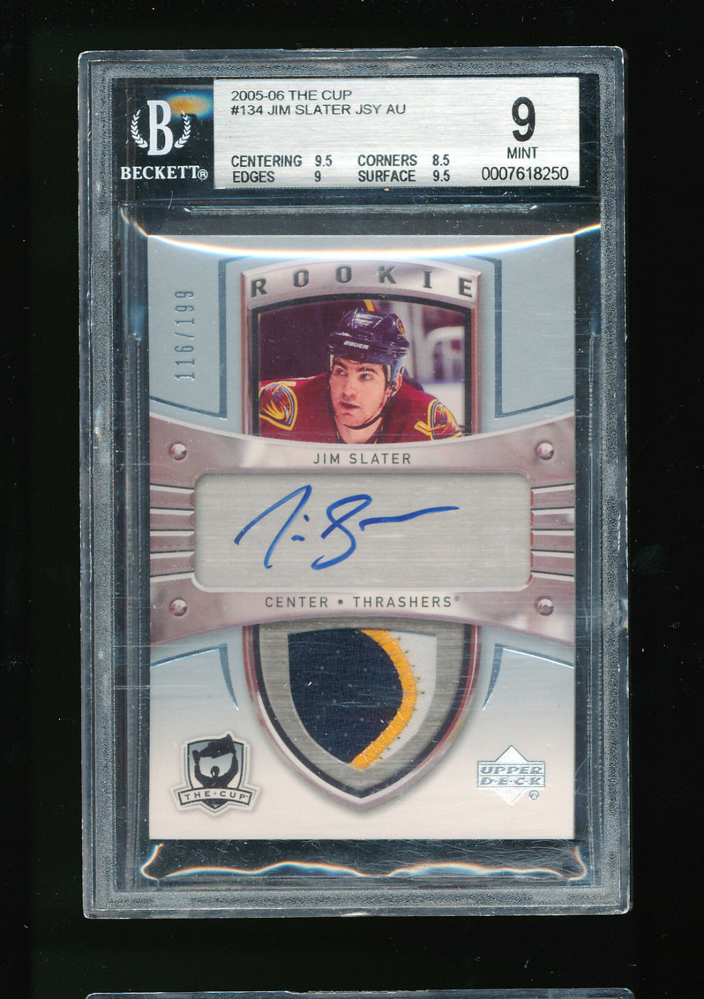 BGS 9 JIM SLATER 2005-06 UPPER DECK THE CUP JERSEY PATCH AUTOGRAPH AUTO RC /199
