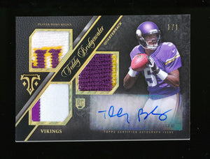 TEDDY BRIDGEWATER 2014 TOPPS TRIPLE THREADS GOLD PATCH JERSEY AUTO RC #D 1/1