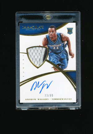 ANDREW WIGGINS 2014-15 PANINI IMMACULATE 3 COLOR TIMBERWOLVES PATCH AUTO # 73/99