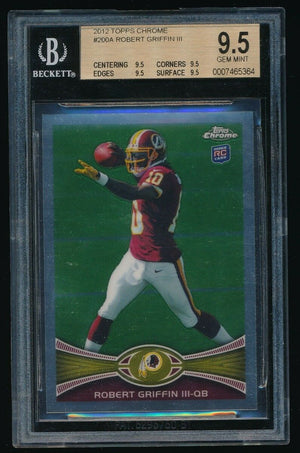 BGS 9.5 ROBERT GRIFFIN III 2012 TOPPS CHROME #200A RC/MAROON JERSEY *REDSKINS*