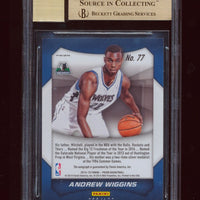 BGS 9.5 ANDREW WIGGINS 2014 PANINI PRIZM BLUE REFRACTOR AUTO RC JERSEY #D 22/199