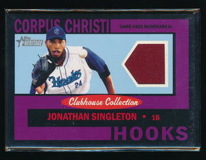 JONATHAN SINGLETON 2013 TOPPS HERITAGE MINORS CLUBHOUSE COLLECTION JERSEY 47/50