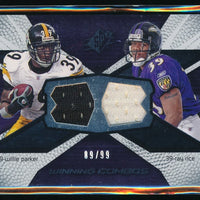 WILLIE PARKER RAY RICE 2008 SPX WINNING COMBO RC JERSEY 89/99 STEELERS RAVENS