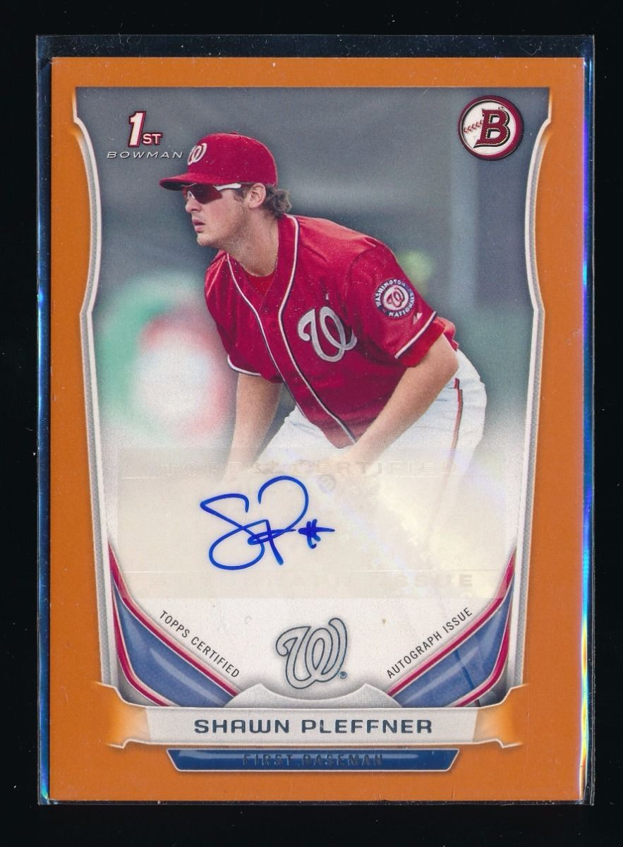 SHAWN PLEFFNER 2014 BOWMAN PROSPECT AUTOGRAPH ORANGE AUTO 091/250 *NATIONALS*