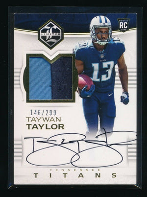 TAYWAN TAYLOR 2017 LIMITED PATCH RC AUTO 146/299 RC *TENNESSEE TITANS*