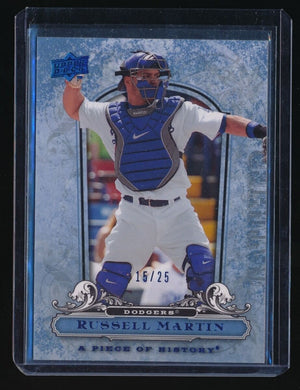 RUSSELL MARTIN 2008 UD A PIECE OF HISTORY BLUE 15/25 LOS ANGELES DODGERS