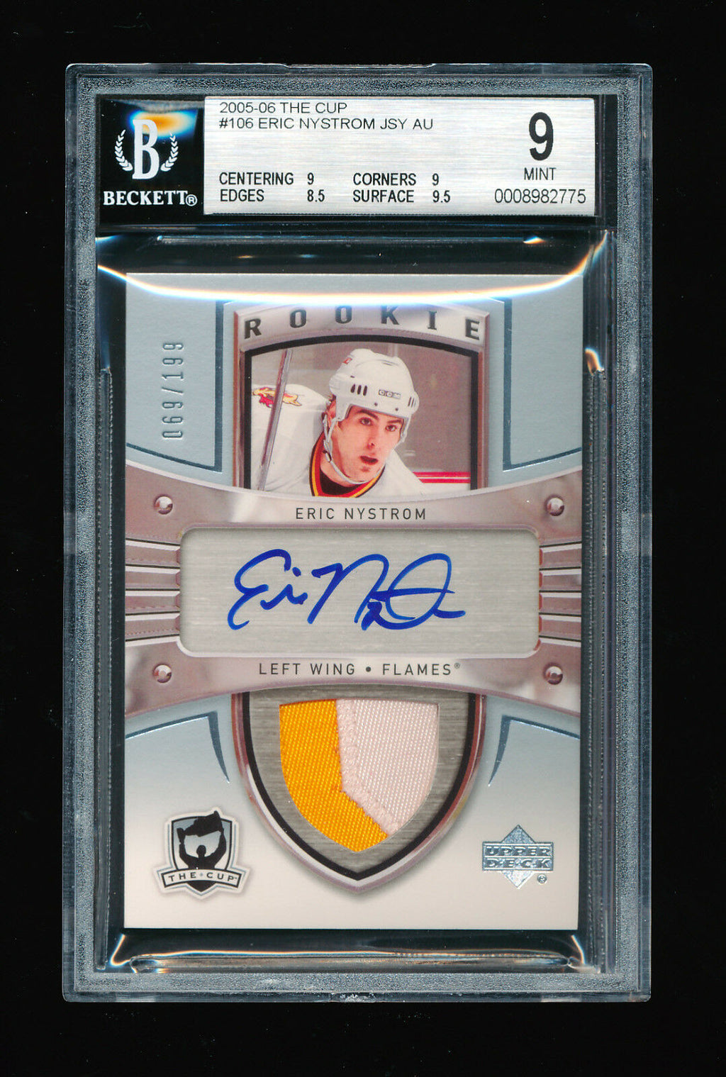 BGS 9 ERIC NYSTROM 2005-06 UPPER DECK THE CUP 2 COLOR PATCH AUTO RC # 069/199