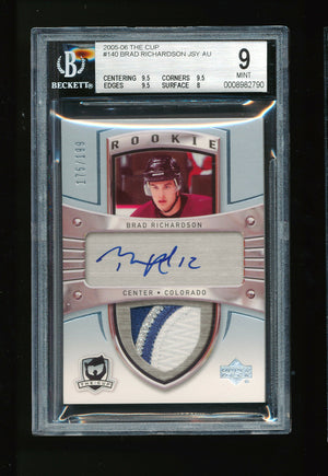 BGS 9 BRAD RICHARDSON 2005-06 UPPER DECK THE CUP 3 COLOR PATCH AUTO RC # 175/199