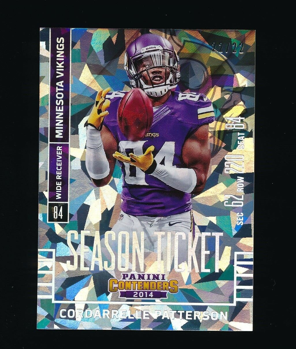 CORDARRELLE PATTERSON 2014 PANINI CONTENDERS CRACKED ICE 22/22 *VIKINGS*