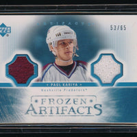 PAUL KARIYA 2005-06 ARTIFACTS FROZEN ARTIFACTS DUAL JERSEY 53/65 *PREDATORS*