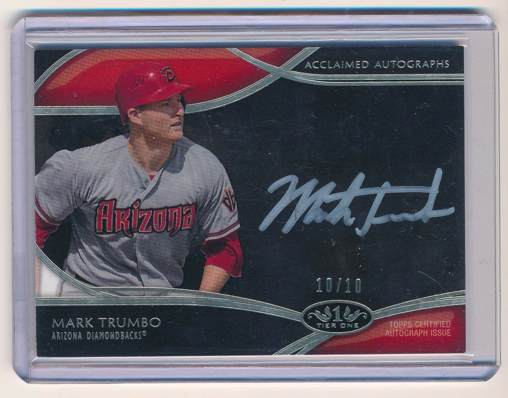 MARK TRUMBO 2014 TOPPS TIER ONE ACCLAIMED AUTOGRAPH SILVER INK AUTO 10/10