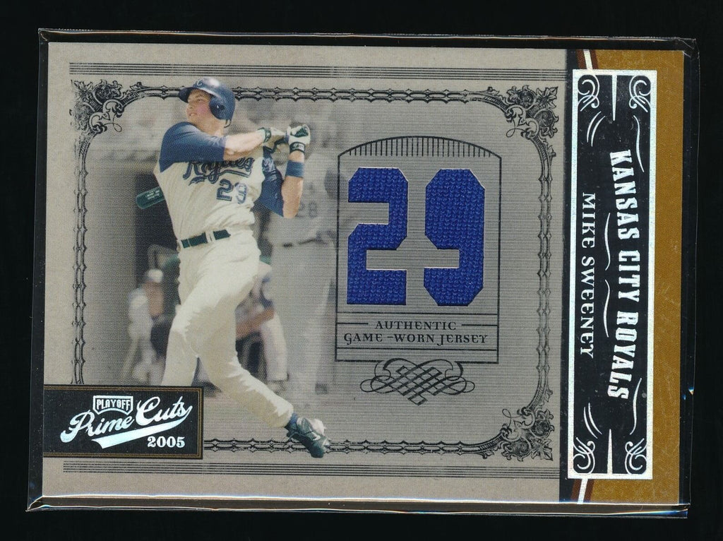 MIKE SWEENEY 2005 PRIME CUTS MATERIAL JERSEY NUMBER 02/50 *KANSAS CITY ROYALS*